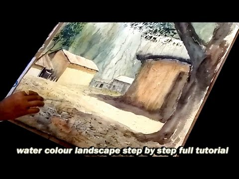 watercolour painting tutorial landscape with house and trees