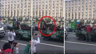 Bear in jeep and forced to play vuvuzela for World Cup fans