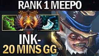 INK MEEPO - RANK 1 20 MINS GG - DOTA 2 7.23F GAMEPLAY