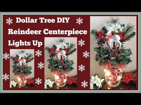 Dollar Tree DIY🎄 Reindeer Centerpiece🎄 Lights Up
