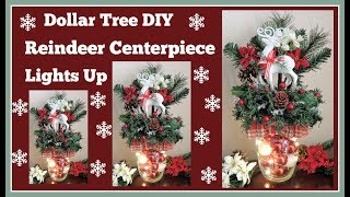 Dollar Tree DIY🎄 Reindeer Centerpiece🎄 Lights Up