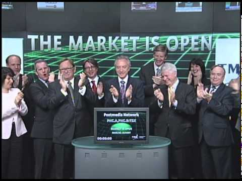 Postmedia Network (PNC.A:TSX & PNC.B:TSX) opens Toronto Stock Exchange, July 19, 2011.