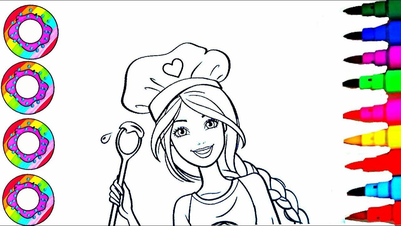Disneys Barbie Chef In Sparkle Rainbow Hat Coloring Sheet