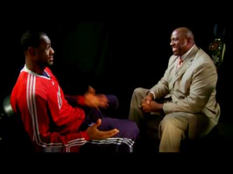 Old Magic Johnson interview with LeBron James (2009). Mentions Kobe being his greatest rival, says he watches Lakers every off night, and gets asked about possibly averaging triple double for a whole season.