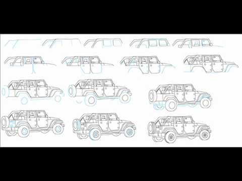 How To Draw A Jeep Wrangler Suv Easy Simple Step By Step Drawing