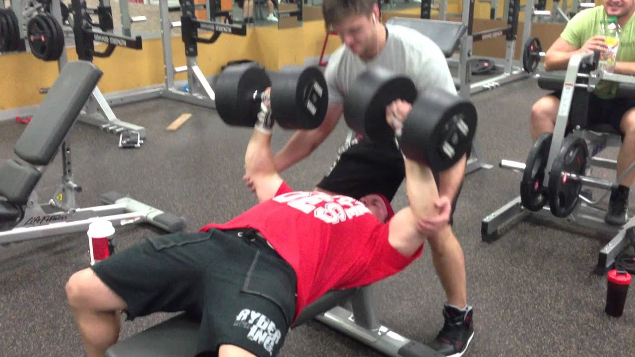 MassiveJoes com - Steve Mills Strength Training - 60kg (130lbs) Dumbbell  Bench Press 8 Reps
