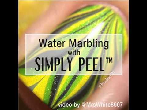 Simply Peel™ @MrsWhite8907 Water Marble Nail Art Tutorial