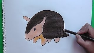 Como dibujar y colorear paso a paso a Armadillo - As drawing and coloring step by step Armadillo