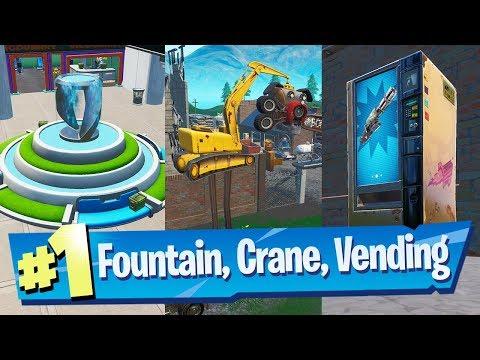 Spray A Fountain, A Junkyard Crane And A Vending Machine Locations - Fortnite (Spray & Pray)