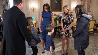 the first lady surprises guests in the old family dining room in the white house