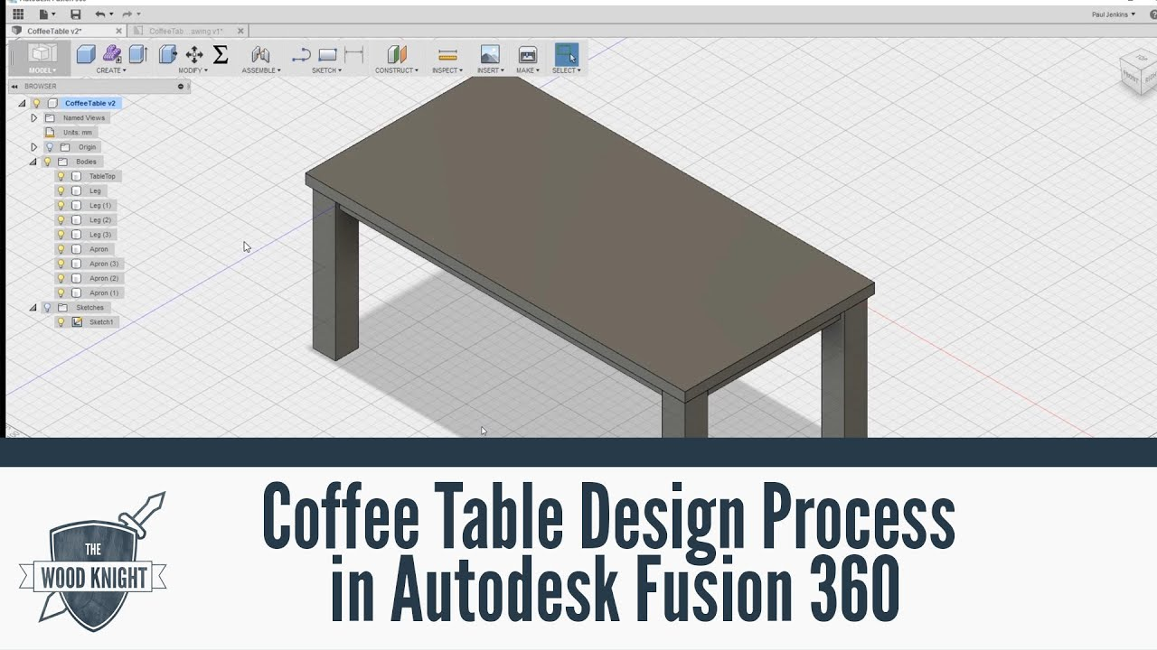 067   Coffee Table Design Process In Autodesk Fusion 360   YouTube