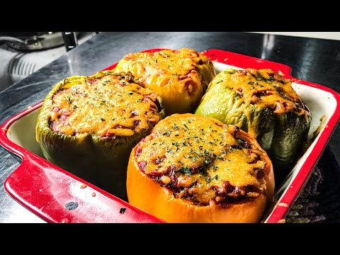 Easy Stuffed Peppers recipe / how to make Stuffed Bell Peppers with Ground beef and rice recipe