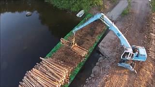 Modern Mega Machines Unusual Woodwork Sawmill Crane Barge Wood Transportation Timber Tractor Saw