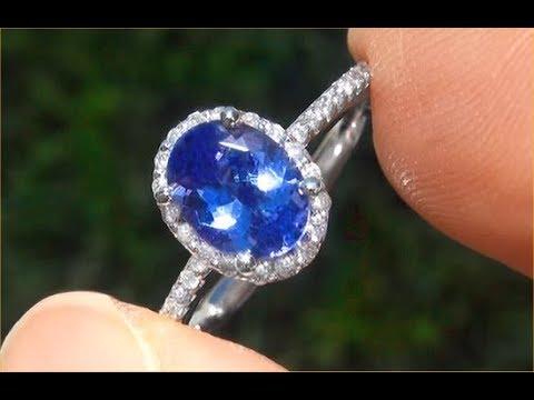 Certified Jewelry VVS2 Natural Tanzanite Diamond 14k White Gold Ring GEM - A141713