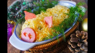 Новогодний стол .Праздничный салатик.Салат для детей.Детский стол