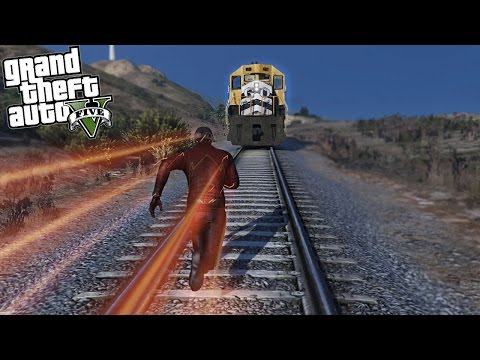 GTA 5 Mods - The Flash vs The Train