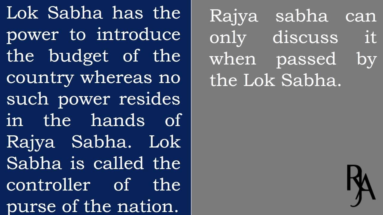 Difference between Rajya Sabha, Vidhan Sabha and Lok Sabha