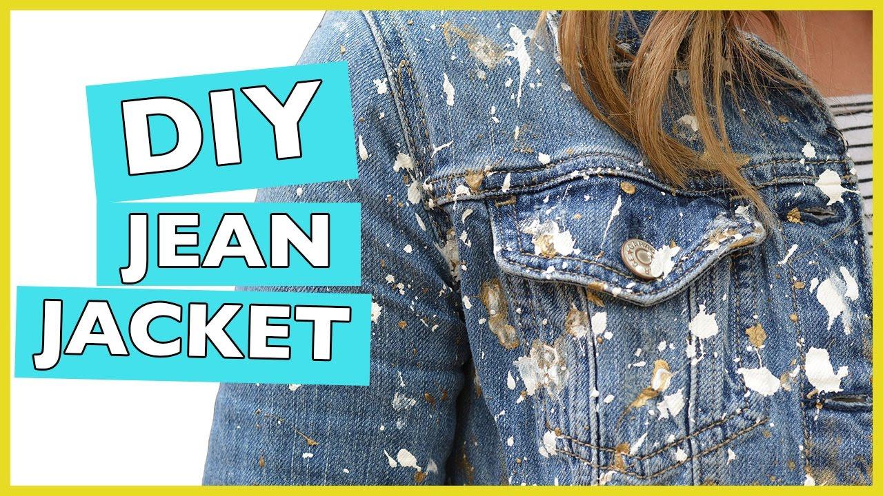 Splattered Paint Jean Jacket Diy White Amp Gold Youtube