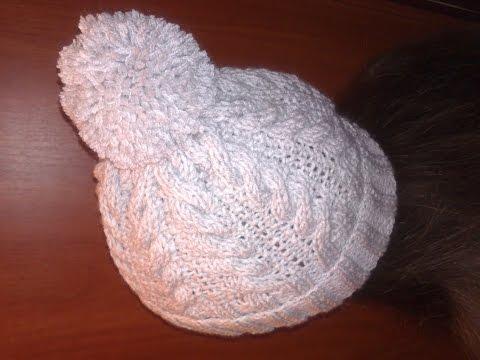 зимняя женская шапка вязание спицамиподробный мквязаная шапка
