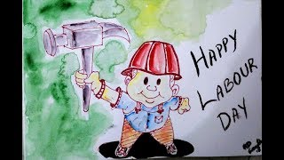 Cartoon Drawing, Happy Labour day 2018