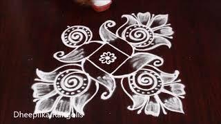 beautifull & simple creative muggulu with 5 dots * daily small kolams * new muggulu patterns
