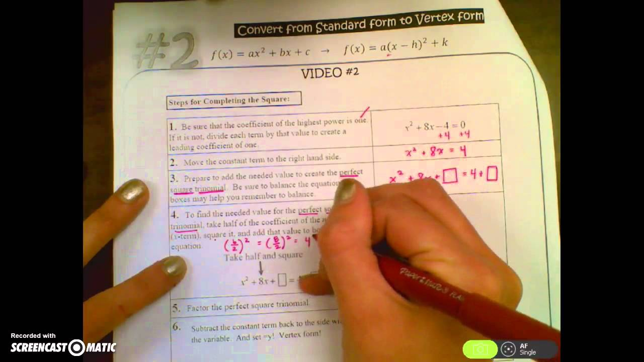 Video 2 convert from standard to vertex form by completing the video 2 convert from standard to vertex form by completing the square falaconquin