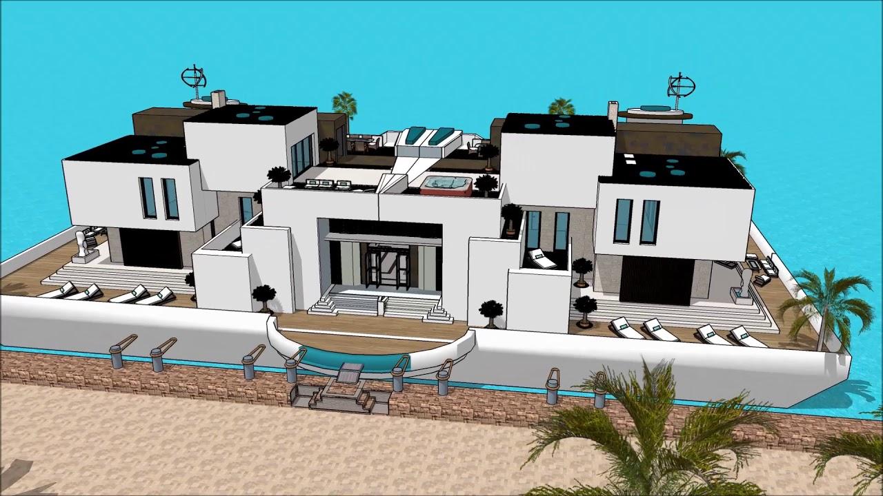 Maison de luxe 3d architecture projet maison de bateau Péniche ...