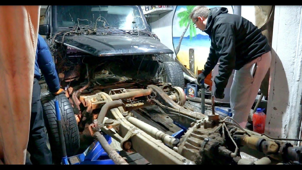 Как снять кузов с рамы в гараже без подъемника. Mercedes G-Class Киллер.