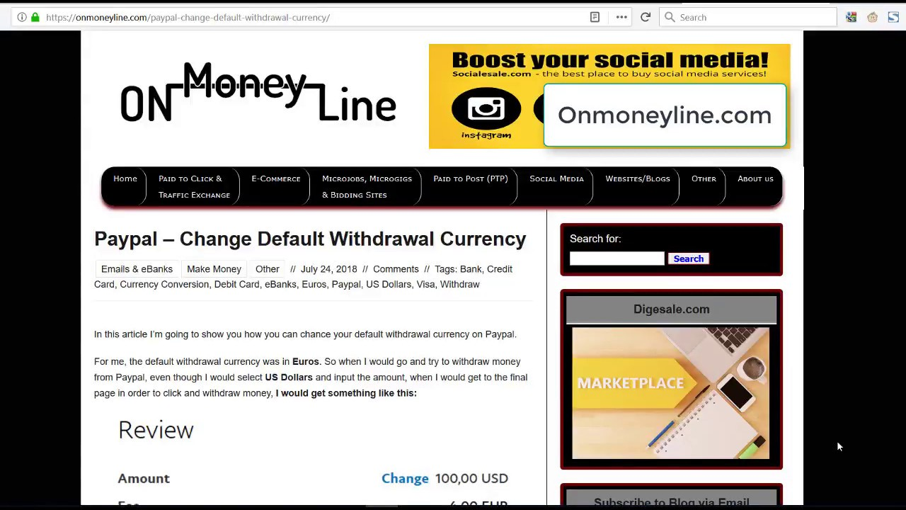 Paypal - Change Default Withdrawal Currency | OnMoneyLine