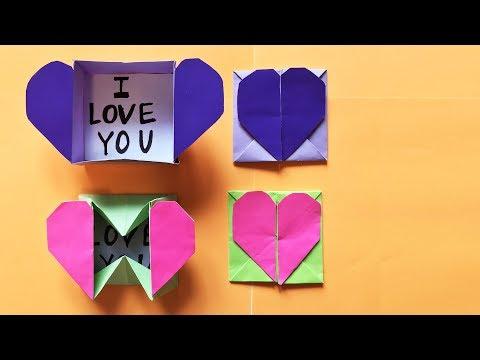 3D ОРИГАМИ Коробочка-сердечко Как сделать открытку на 8 марта Валентинка Origami Heart Box Envelope