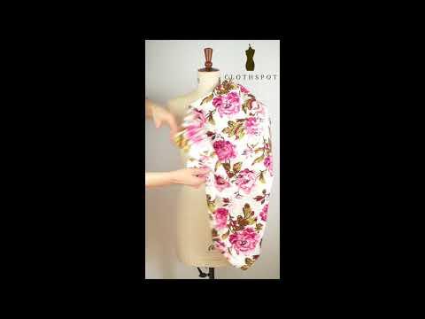 'Attar' blowsy floral stretch viscose drill fabric