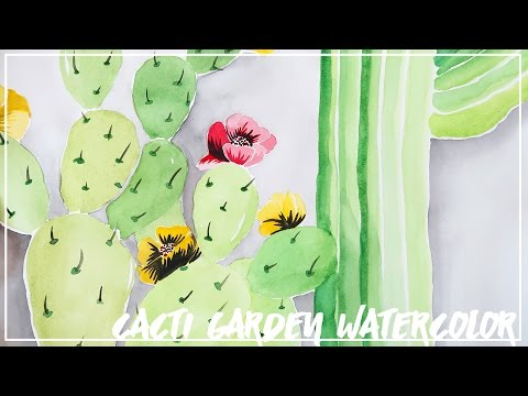 Natural Cacti Garden Watercolor! ♥ Paige Poppe, Artist