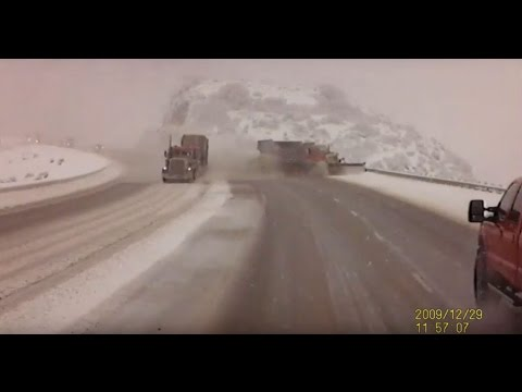 Thumbnail: CRASH: Semi forces snow plow in Utah off the road, down a 300 foot embankment
