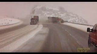 Repeat youtube video CRASH: Semi forces snow plow in Utah off the road, down a 300 foot embankment