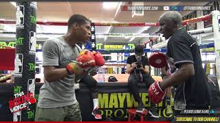 DEVIN HANEY goes HARD on the mitts with FLOYD MAYWEATHER SR.