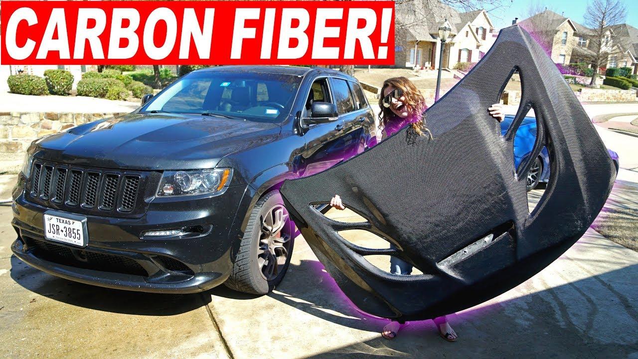 Carbon Fiber Hellcat Hood Install Jeep Srt8 Youtube