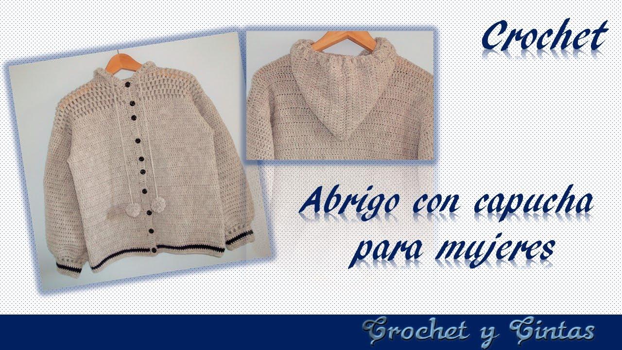 Abrigo - cárdigan con capucha para mujer a crochet (ganchillo ...