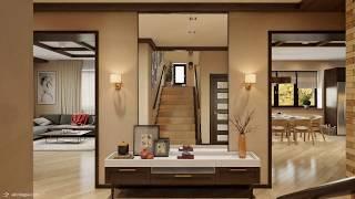 Дизайн дома с разнообразием стилей 1-й этаж
