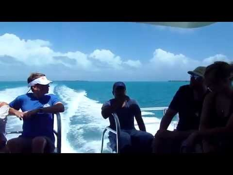 Boat ride in the Caribbean Sea of Belize