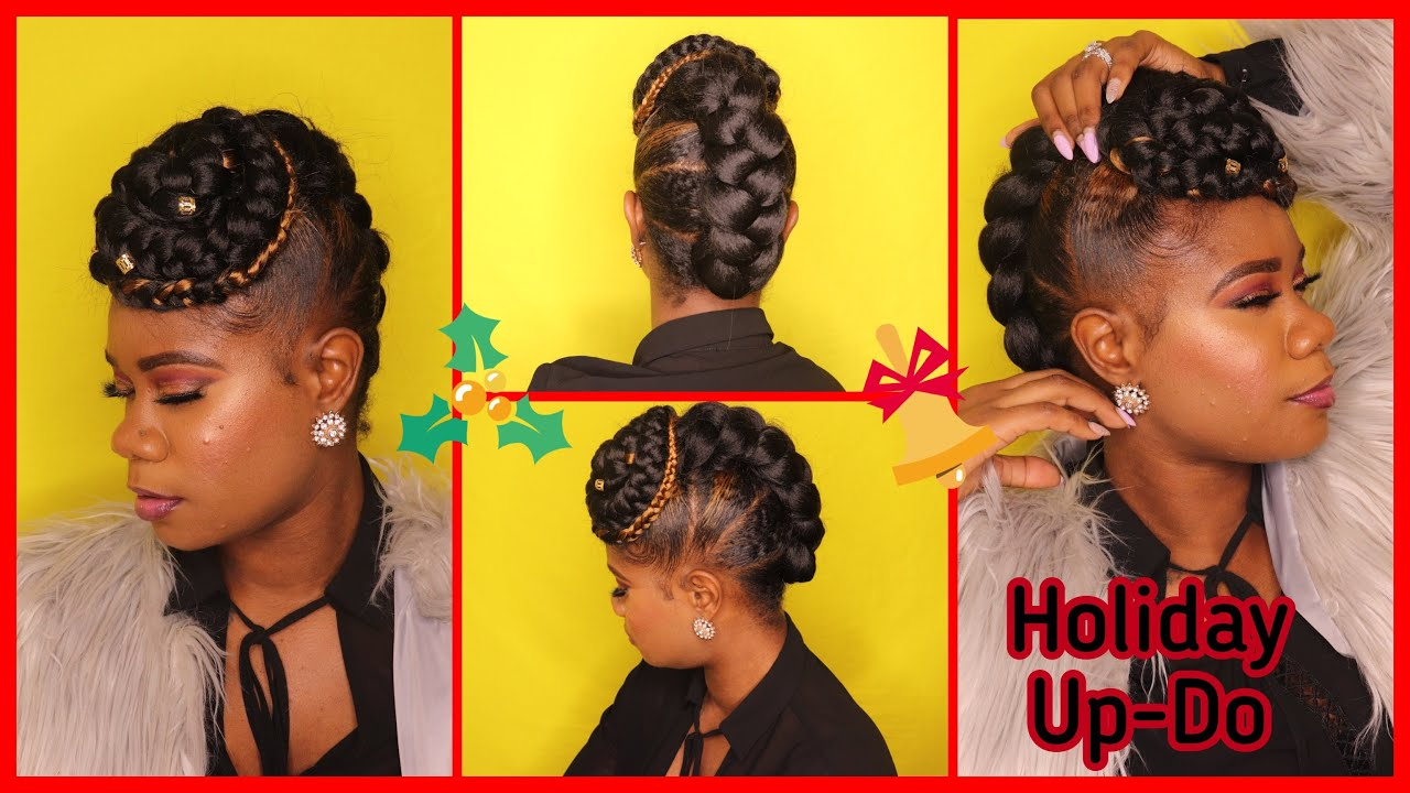 Holiday Hair Simple Braided Updo On Natural Hair Quick Hairstyle With Braiding Hair