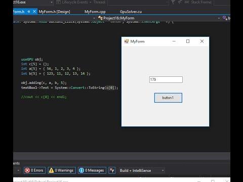 CUDA GUI VS 2015 + CLR FORM [Simple Adding] - YouTube