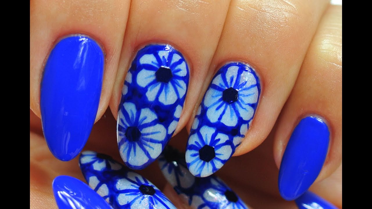 Nail art neon dark blue design flowers youtube prinsesfo Gallery