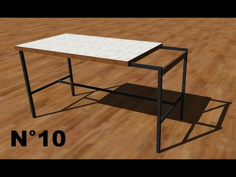 tuto google sketchup n 10 meuble table bureau de travail 1 sur 2 youtube. Black Bedroom Furniture Sets. Home Design Ideas