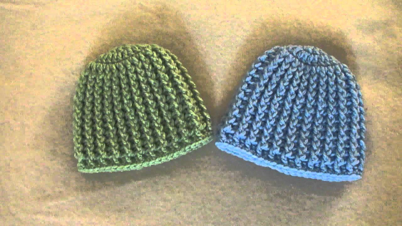 Crochet Ribbed Baby Beanie Hat Youtube