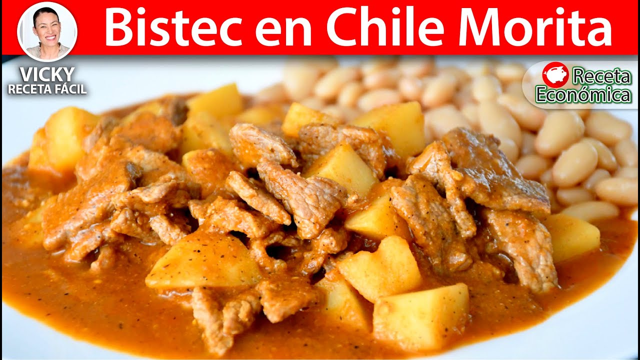 BISTEC EN CHILE MORITA   Vicky Receta Facil