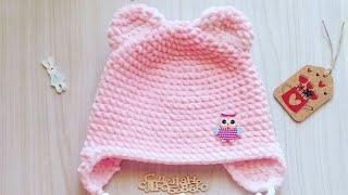 Шапочка для ребенка с ушками из плюшевой пряжи/ детская шапочка крючком 2часть