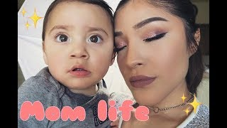 A GLAM MOM ROUTINE WITH A TODDLER |SOFT PINK GLITTER LOOK |