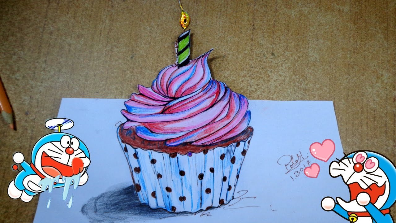 Cupcake Painting On Color Pencil Happy Birthday Cake Drawing How