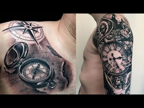 50 Cool Pocket Watch and Compass Tattoos for Men 2018 & 2019