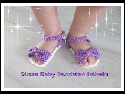 EINFACHE Baby Sandalen häkeln / Babyschuhe häkeln 0-3 Monate 3-6 ...